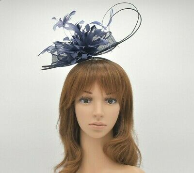 M8187(Navy Blue)Kentucky Derby Church Wedding Easter Royal Ascot Crin Fascinator