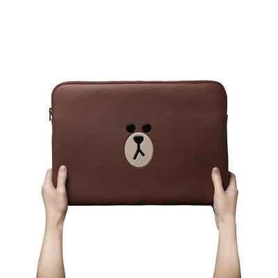 LINE FRIENDS Brown Leather Laptop Case 15 inch Notebook Pouch Track#