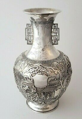 Chinese Export Silver Impressive Vase By  Cum Wo  Hong Kong  C.1860/1920