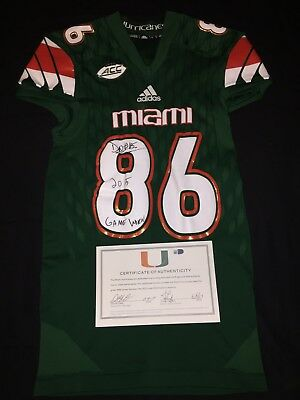 quality design 129ec 2da8f MIAMI HURRICANES GAME Worn Game Used Jersey David Njoku Autographed  Photomatched