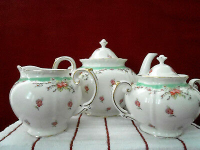 Gracie China Green Vintage Rose 4 Cup Teapot & Lid, Creamer & Sugar Bowl w/Lid