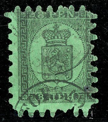 Finland 1867 Serpentine Definitive 8 Pen Black on Green Scott #7 VFU V336