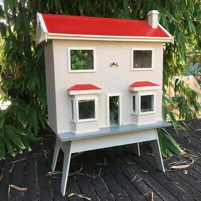Vintage 1950s Mid-Century Retro Doll's House & Furniture all Handmade by Grandpa