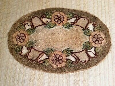 """Antique Hand Made Embroidery Oval Doily Floral Folk Art Vintage Textile 12"""""""