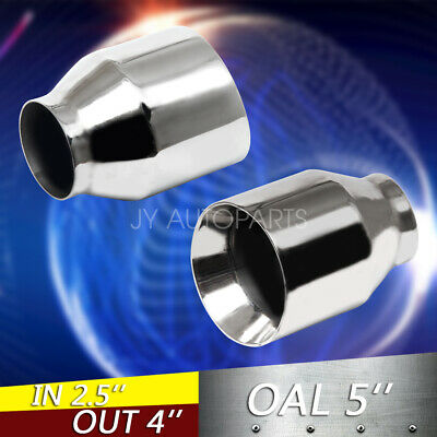 """1 PAIR 2PCS 2.5"""" Stainless Round Exhaust Tips 2 1/2"""" Inlet / 4"""" Outlet / 5"""" Long"""