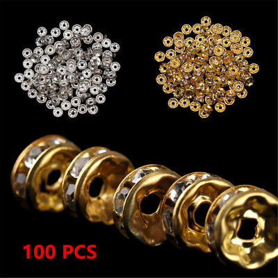 100 Wholesale Crystal Rhinestone Silver Gold Rondelle Round Spacer Beads 6MM 8MM