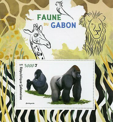 Gabon 2018 MNH Fauna Gorillas 1v S/S Monkeys Apes Wild Animals Stamps
