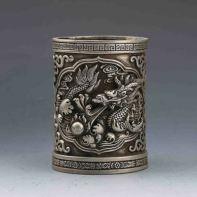 Exquisite CHINESE Old Tibet SILVER COPPER HANDWORK CARVED DRAGON BRUSH POT