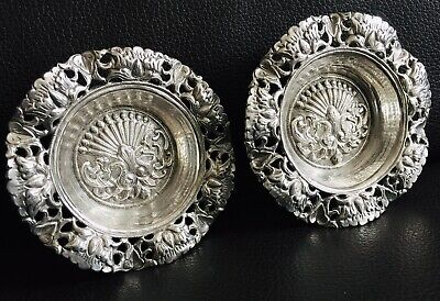 "Pair of Rare Small (3.5""/9cm) Antique Ornate Silver Repoussé & Chased Pin Dishes"