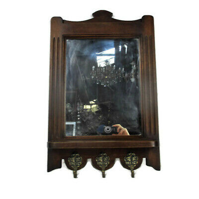 Lovely Hand Carved Wood Coat Hat Hallway Rack  with Mirror Oak
