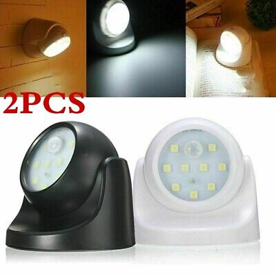 2 Pack 360° LED PIR MOTION SENSOR SECURITY BATTERY OPERATED LIGHT INDOOR/OUTDOOR