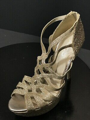 4b3e471c4a6 New Aldo Women s Metallic Gold Sparkly Strappy High Heels Shoes Size US 7.5  M