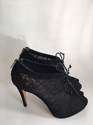 NAVYBOOT Vero Cuoio Platform High Heel Brogues Lace Up Ankle Boots Size 5 UK 38