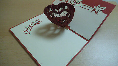 Handgemachte 3D Pop Up - Grusskarte Herz - i love you -  Valentinstag Liebe