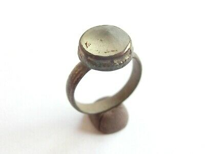 Gorgeous Byzantine Bronze Finger Ring with White Glass Stone on Top WEARABLE!