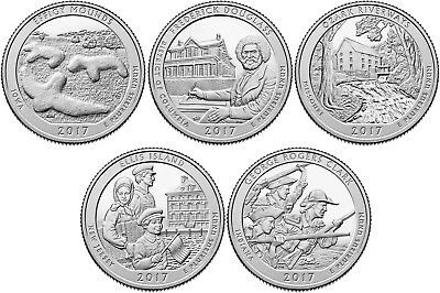2017 US National Park Quarters Five Coins Uncirculated Straight from the US Mint