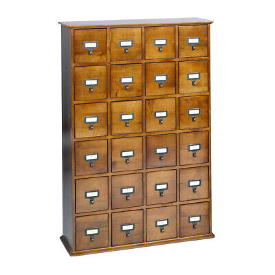 Library Card Catalog CD/DVD Storage Cabinet 24 Drawer Stores 456 Discs - Walnut