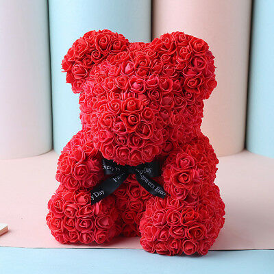 2019 Valentine Teddy Bear Foam Red Rose Flower Bear Toys Gifts New UK Q
