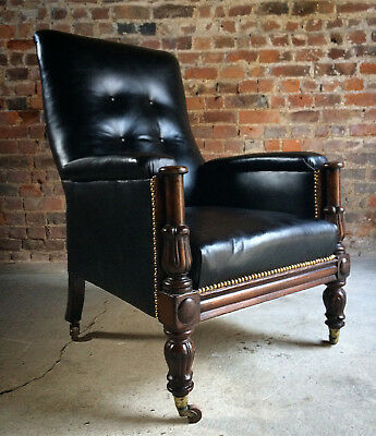 Stunning Antique Library Chair Lounge Club Leather Mahogany William IV 1830