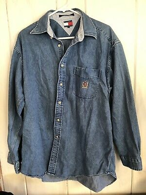 bf100c57cc7 Vintage Tommy Hilfiger Men s Size Large Blue Jean Business Casual Shirt.