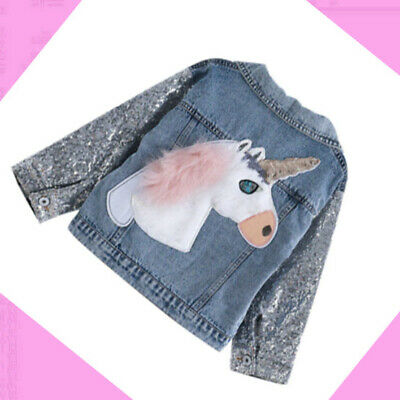 Girls kids Denim Jacket Sequins Sleeves Jeans Outwear Autumn Unicorn Age 2-8 yrs