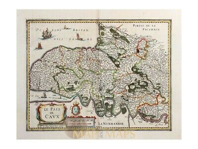 France Antique old Map Le Pais De Caux Janssonius 1638