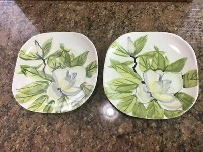"""2 Magnolia Hand Painted Square Dinner Plate Red Wing Pottery 10-3/8"""" Dogwood"""