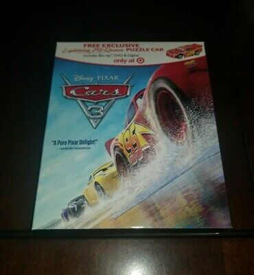 Cars 3 Blu Ray/DVD Target Exclusive Release w/New Puzzle Car Mint **Inv02462**