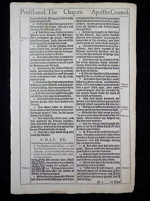 1611 King James Bible Leaf Page *book Of Acts 14:18- 16:3 * Paul Is Stoned * Vgc