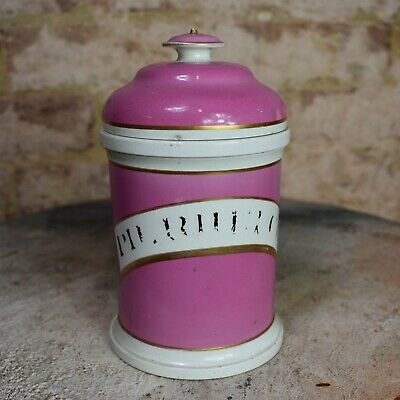 Antique Victorian Pink Apothecary Chemist Pharamacy Jar Container Bottle