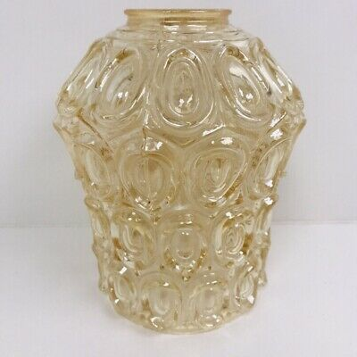 Vintage Light Colored Amber Pressed Glass Lamp Wall Light Shade Art Deco