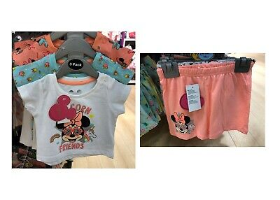 Bnwt Primark Baby Girl Disney Minnie Mouse 3 Pack T-Shirts And 2 Pack Short Sets