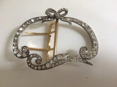Antique Victorian French Silver & Paste Glass Stone Set Bow Buckle