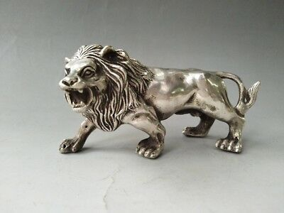 Exquisite Old CHINESE Tibet SILVER COPPER PURE HAND-CARVED LION STATUE YT