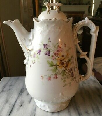 Antique/Vintage Coffee Or Tea Pot Painted Spring Flowers Numbered