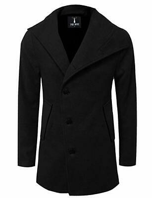 d44e9b30704 TAM WARE Mens Unbalanced Single Breasted Button Wool Pea Coat New