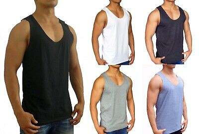 Mens Plain Singlet Muscle Tank Sleeveless Top Bodybuilding Gym Lifting Casual