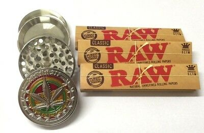 4 PART SILVER METAL MAGNETIC GRINDER LEAF WEEDS with 3 x KING SIZE RAW PAPERS