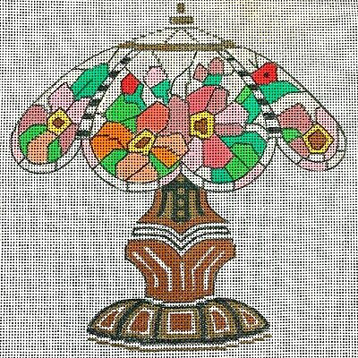 Handpainted Needlepoint Canvas Floral Lampshade Stained Glass Art Nouveau Style