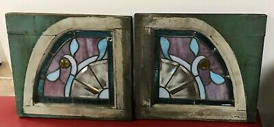 2 Vintage Antique Stained Glass Windows Matching Pair Arts Crafts Geometric