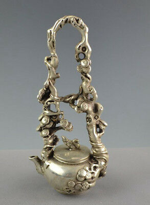 Exquisite CHINESE Old Tibet SILVER COPPER  squirrel pine teapot