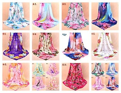"US SELLER- 12 chiffon shawls flower 37.4"" large square scarf scarves discount"