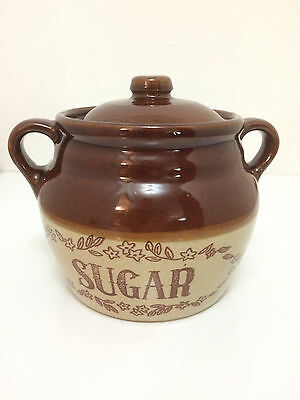 Vintage Brown Two Toned Sugar Crock  with lid Quart  USA  Canister