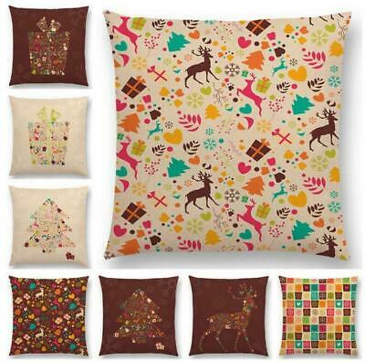 Sika Deer Pattern Throw Sofa Decor Pillow Case Cotton Linen Cushion Cover