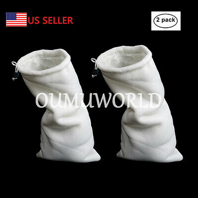 Aquarium Filter Bags Polyester Drawstring Magic Felt Socks  Fish Tank 2PC New LG