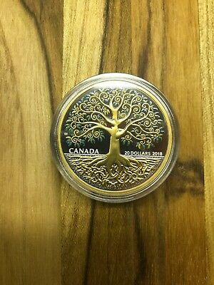 2018 Royal Canadian Mint $20 9999 Fine Silver Tree Of Life Colorized Proof