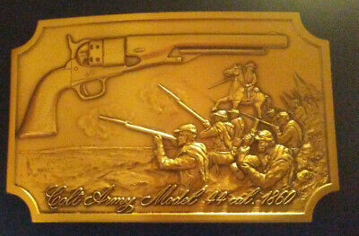 Vintage Colt Firearms Brass Belt Buckle Depicting The Army Model 1860 In Bas-Rel