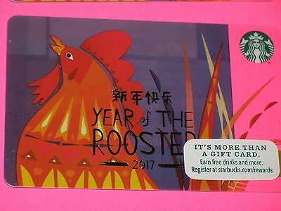 5 Starbucks 2017 Chinese New Year of Rooster Gift Cards - Brand New !