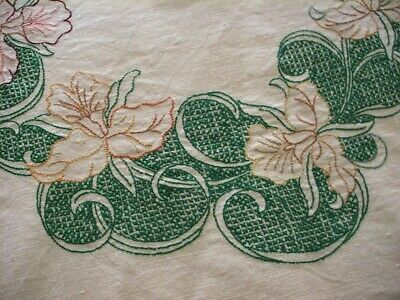 Divine Embroidered & Cross Stitch Orchid Vintage Linen Tablecloth