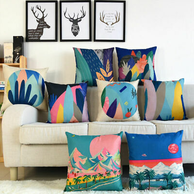 Sika Deer Pattern Sofa Decor Pillow Case Cotton Linen Cushion Cover